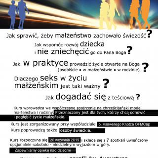 """Plakat kursu dla małżeństw """"Zatrzymaj się w biegu"""" z roku 2019."""