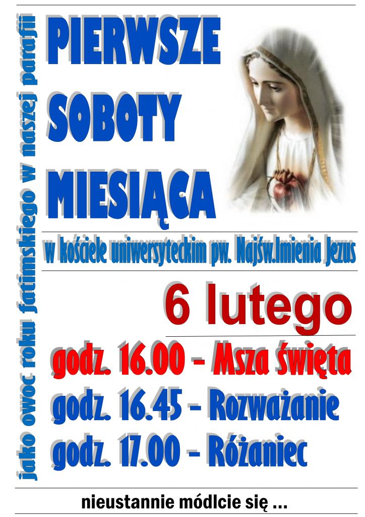 Plakat pierwszych sobót miesiąca na luty 2020.