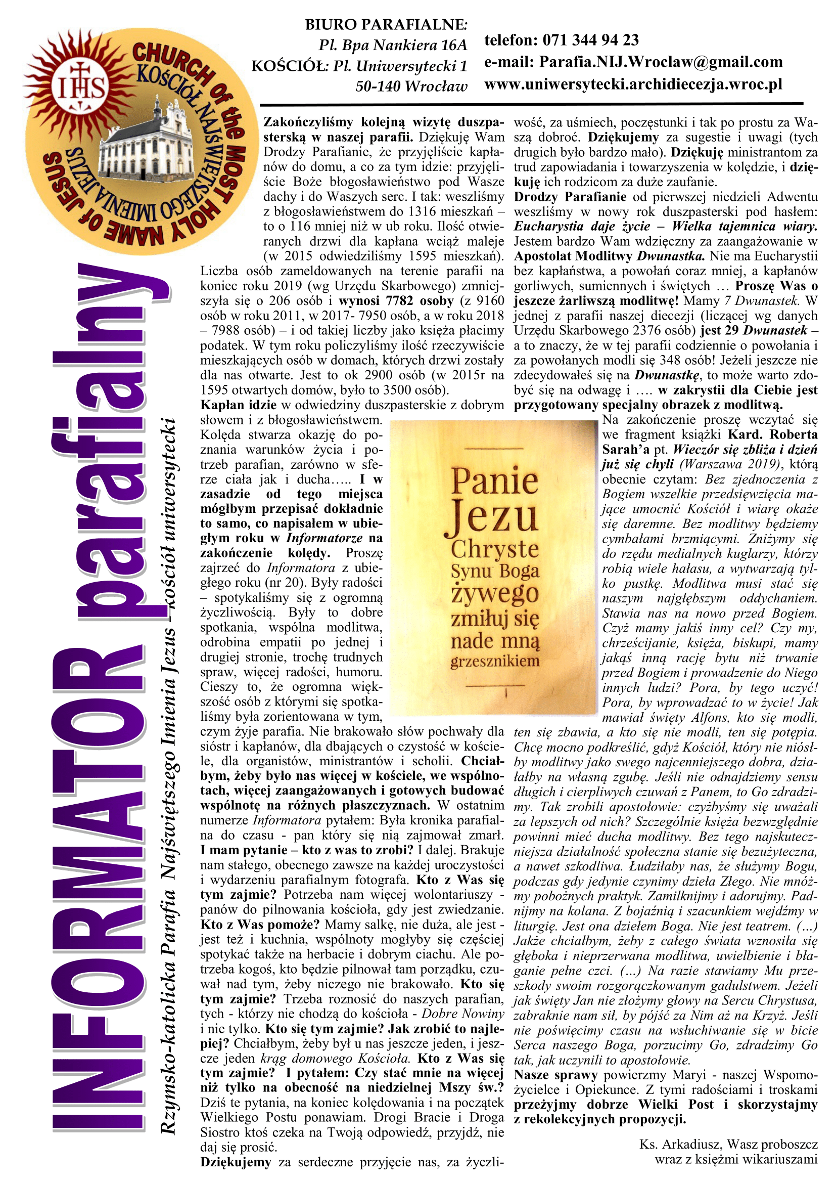 BIULETYN 25 Wielki Post 2020