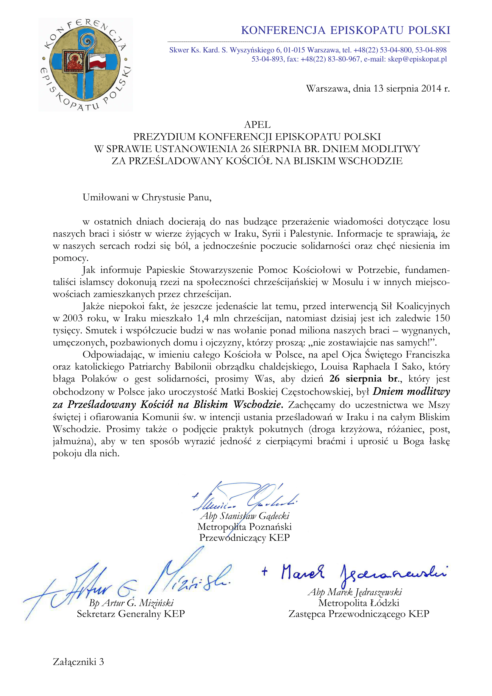 Apel Prezydium Konferencji Episkopatu Polski