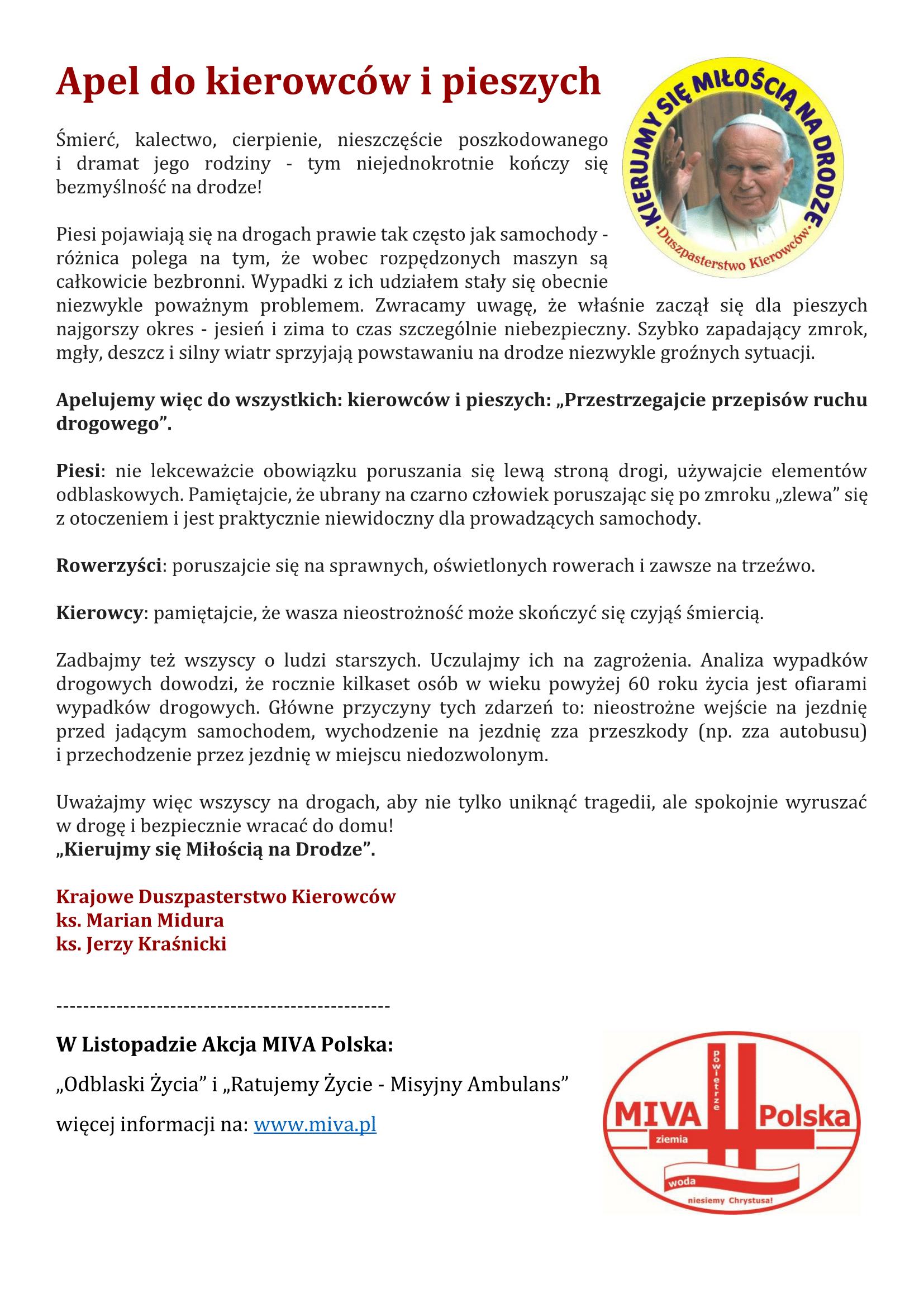Apel do kierowców ipieszych
