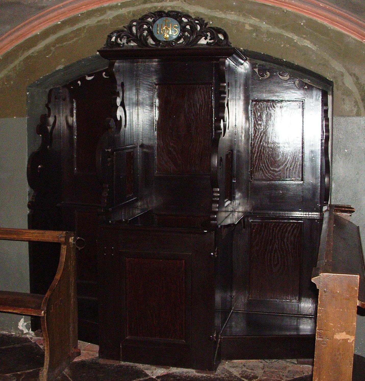 Konfesjonał wkaplicy Ignacego Loyoli