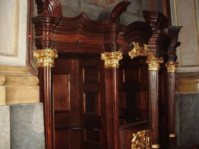 Konfesjonał wkaplicy św.Franciszka Borgiasza