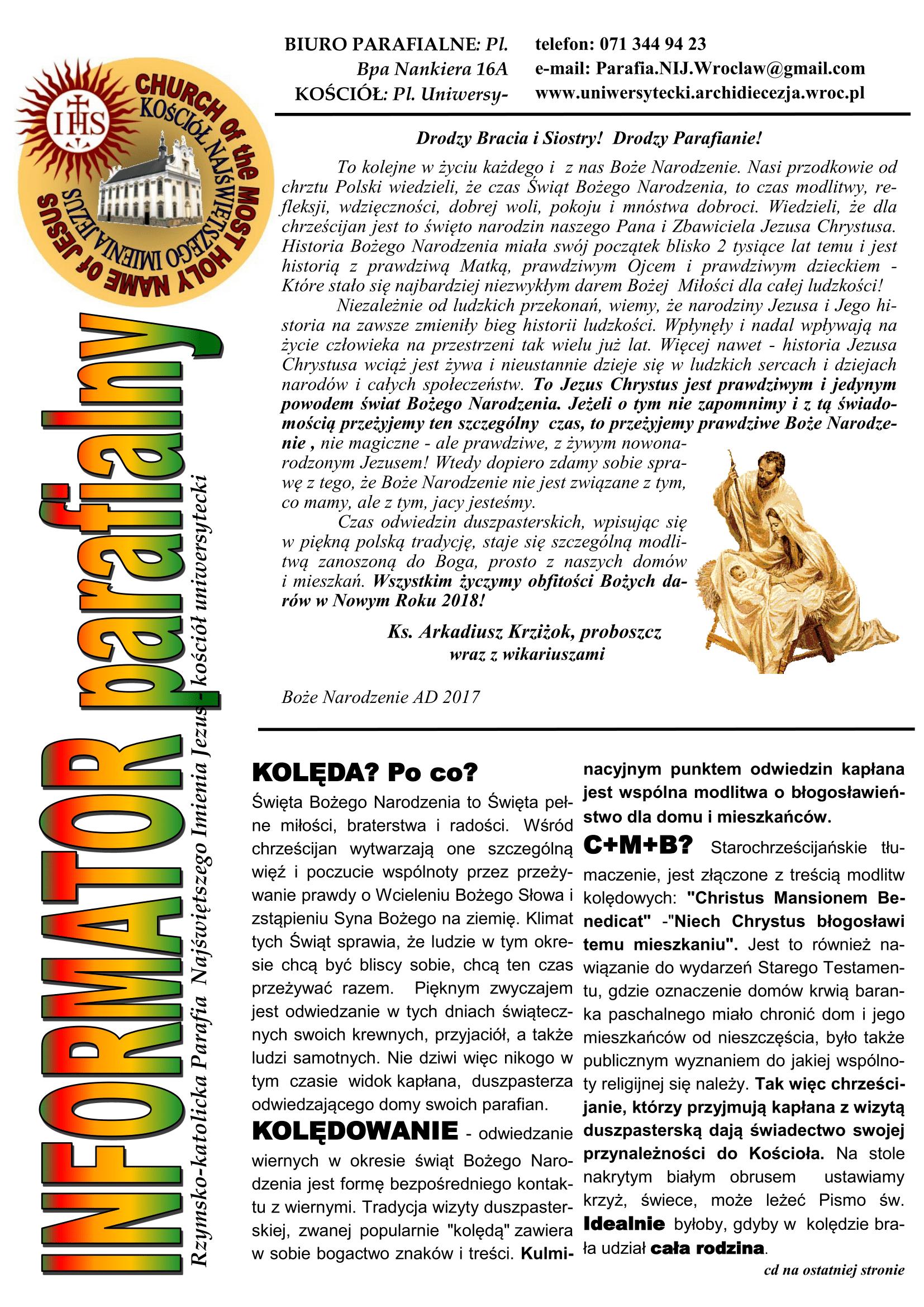 BIULETYN 15 Kolęda 2018