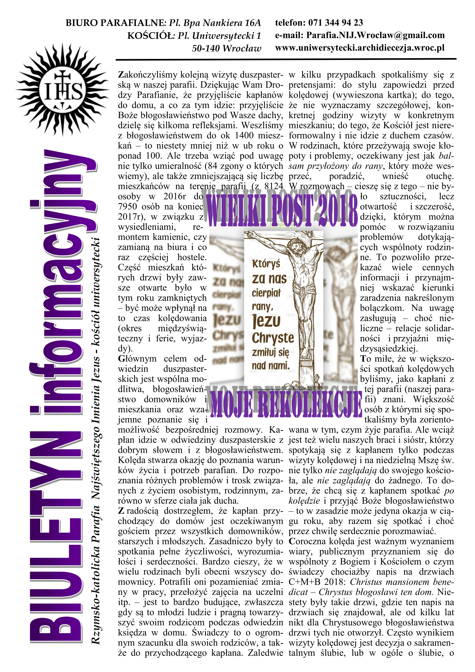 BIULETYN 16 Wielki Post 2018