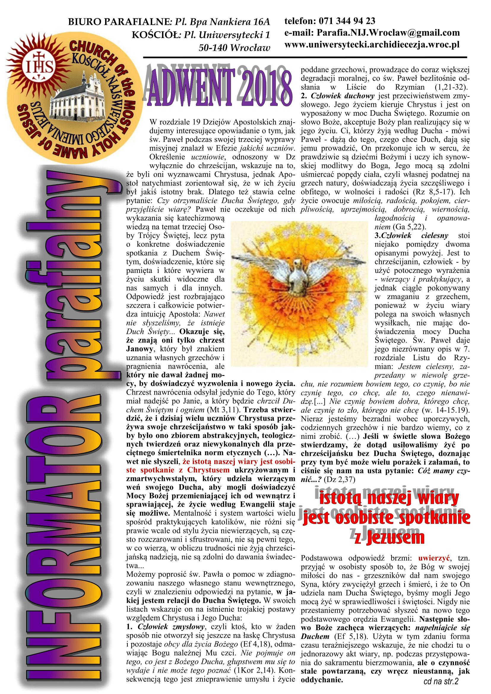 BIULETYN 19 Adwent 2018