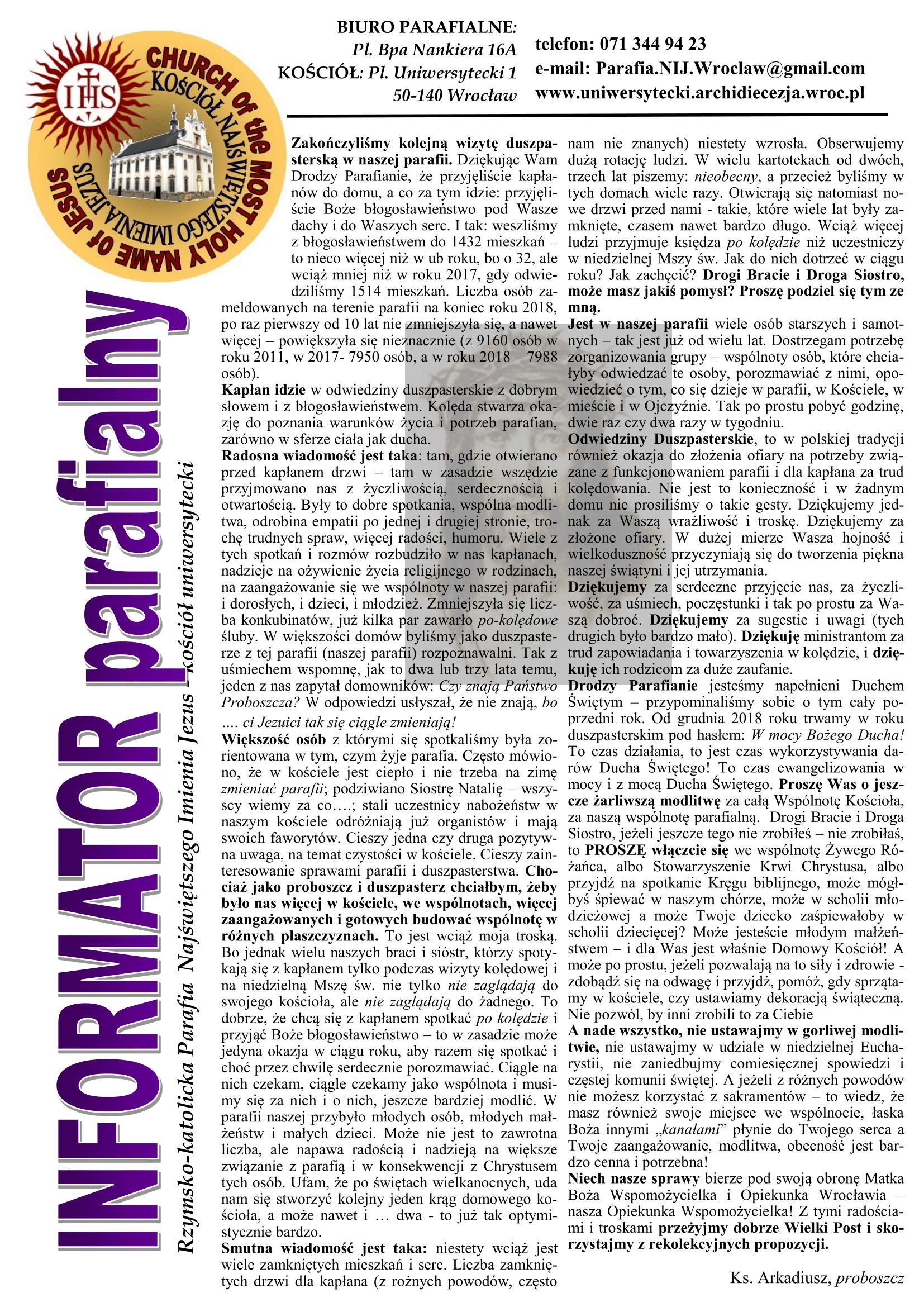 BIULETYN 21 Wielki Post 2019